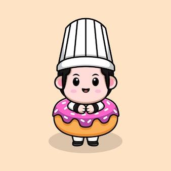 Cute male chef inside donut cartoon mascot illustration