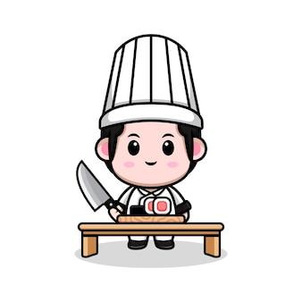 Симпатичный мужской шеф-повар делает суши мультяшный талисман иллюстрации