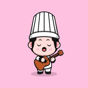 Cute male chef playing guitar cartoon mascot illustration