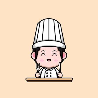 Cute male chef ready to eat cartoon mascot illustration