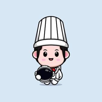 만화 마스코트 그림을 달 준비가 된 귀여운 남성 요리사