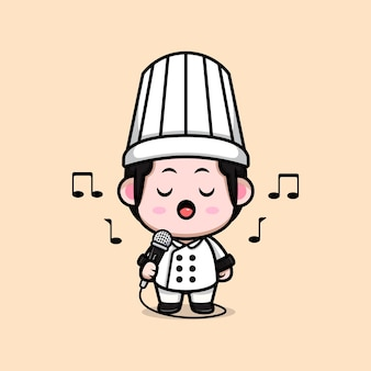 Симпатичный шеф-повар-мужчина поет в микрофон иллюстрации шаржа талисмана