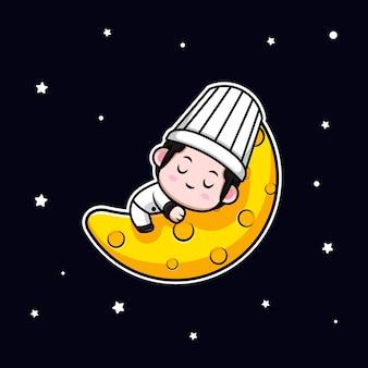 Симпатичный мужской шеф-повар спит на луне мультяшный талисман
