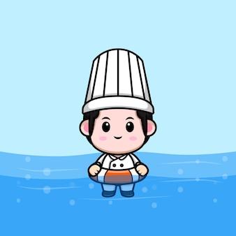 Cute male chef swimming cartoon mascot illustration
