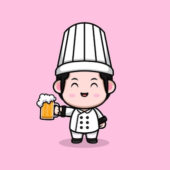 Cute male chef with beer cartoon mascot illustration