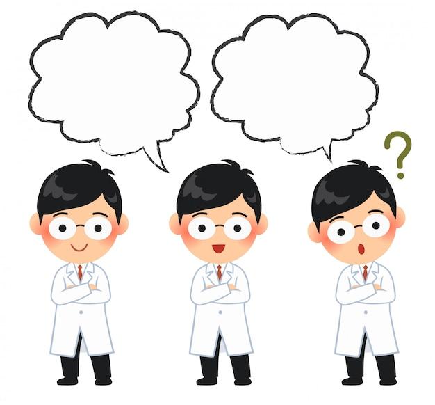 A cute male doctor wore white glue, character cartoon