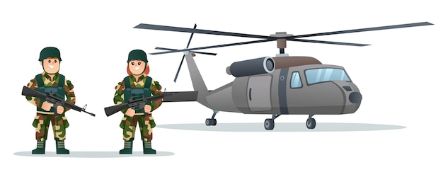 Cute male and female army soldiers holding weapon guns with military helicopter cartoon illustration