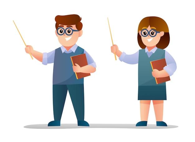 Cute male and female teacher character set