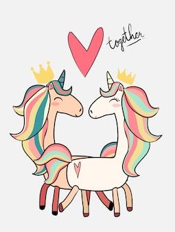 Cute male unicorn kiss female unicorn valentine card