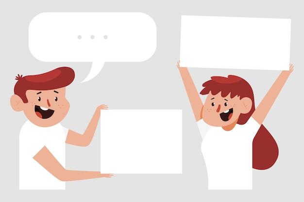 귀여운 남자와여자가 흰색 배경에서 격리하는 빈 사인 보드 문자를 들고.