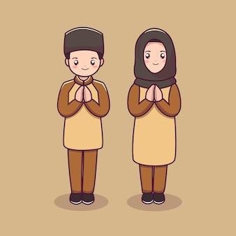 イスラムのキャラクター漫画のかわいい男性と女性のイスラム教徒のキャラクターのカップル