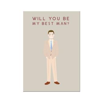 Cute man cartoon character in beige suit groomsmen invitation