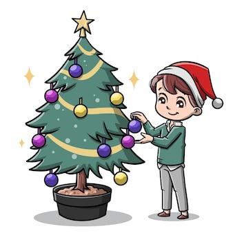 크리스마스 트리 만화를 장식하는 귀여운 남자