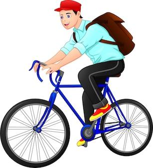 Милый мужчина идет на работу на велосипеде