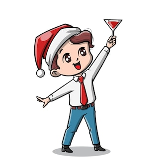 クリスマスパーティー漫画のかわいい男