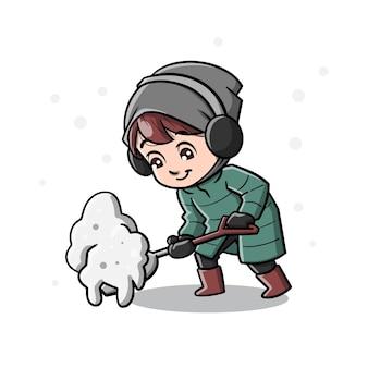 冬の季節の漫画のかわいい男