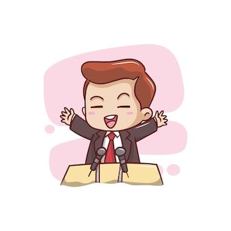 The cute man making a speech