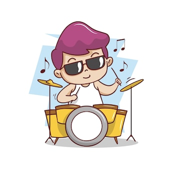 The cute man playing drum illustration