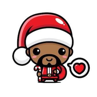 산타 클로스 의상을 입고 귀여운 남자