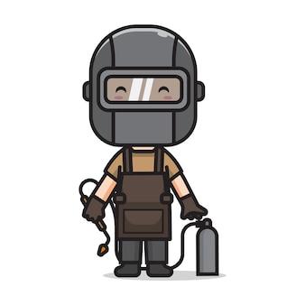 Cute man welder