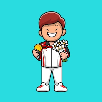 Cute man winning champion cartoon vector icon illustration. people champion icon concept isolated premium vector. flat cartoon style