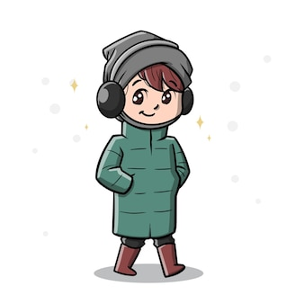 Cute man in winter season cartoon