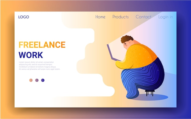 Cute man with a laptop is sitting on the chair. landing page template.