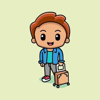 Cute man with suitcase cartoon illustration