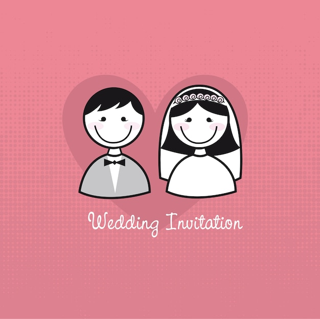Cute man and woman icons wedding invitation vector