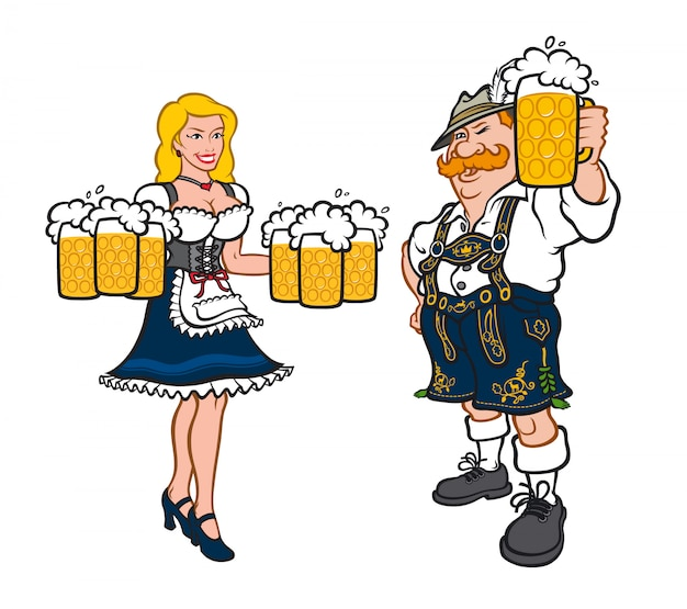 Cute man and woman in national german costumes.