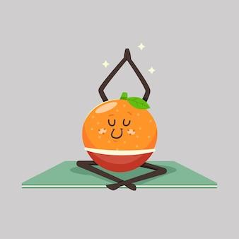요가 포즈에 귀여운 만다린 아이. 배경에 재미있는 과일 캐릭터. 건강하고 건강하게 먹기.