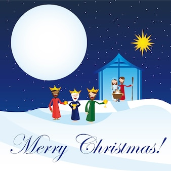 Cute manger with magi over snow card vector