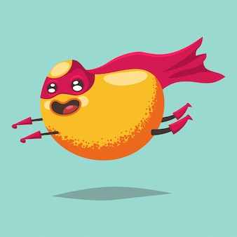 Cute mango cartoon character of an exotic fruit in a superhero costume