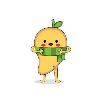 スカーフを身に着けているかわいいマンゴー漫画のキャラクター