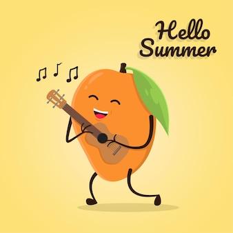 Симпатичный персонаж манго играет на гавайской гитаре бесплатно