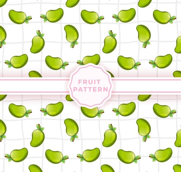 かわいいマンゴーのシームレスなパターン。かわいい果物のパターン