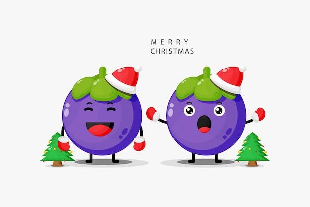 かわいいマンゴスチンがクリスマスを祝う