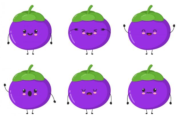 かわいいマンゴスチンイラストセットのコレクション。漫画のキャラクターのバンドル