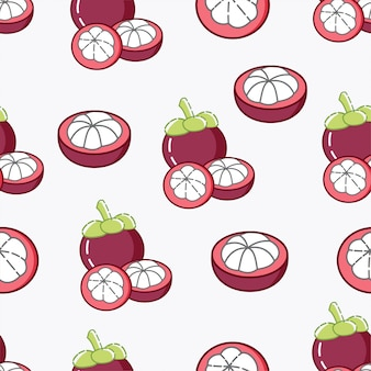 Cute mangosteen seamless pattern