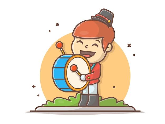 Симпатичные оркестр барабанщик музыка вектор значок иллюстрации. походная группа drummer boy. люди и музыка значок концепции белый изолированный