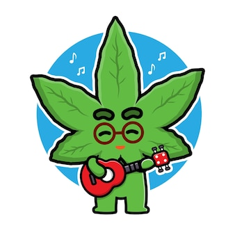 Cute marijuana playing guitar cartoon character