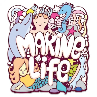 Cute marine life typography and sea animals doodle