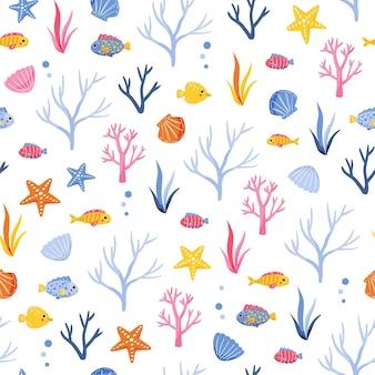 다채로운 해초 물고기와 조개와 귀여운 해양 패턴