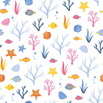 Cute marine pattern with colorful seaweed fish and shells