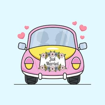 꽃과 함께 귀여운 결혼 된 자동차