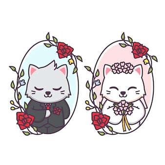 Cute married couple of cat inside floral frame