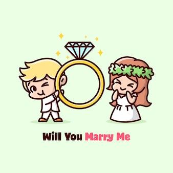 귀여운 결혼 커플은 다이아몬드와 함께 큰 반지를 가져와 행복감을 느낍니다. 발렌타인 데이 삽화.