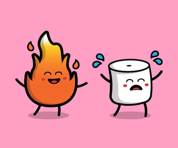 かわいいマシュマロと火の漫画ベクトルアイコンイラスト食品キャラクターアイコンの概念