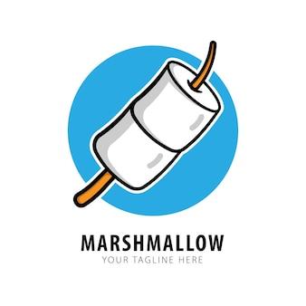 Cute marshmallow candy logo vector icon illustration
