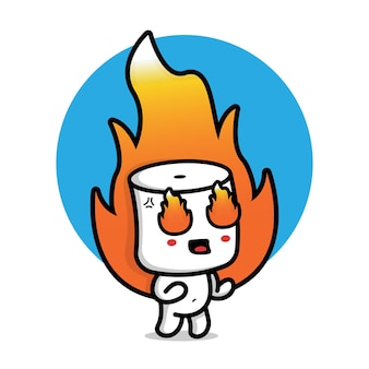 Cute marshmallow cartoon vector icon illustration food character icon concept
